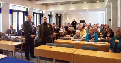 Founding Secretary Stuart Williams (standing centre left) and Founding Treasurer Ken Goward (standing left) join prospective SHA founder members at Wadham College, Oxford on 29 June 2002